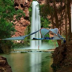 The water from   Havasu Falls is said to flow   not only over the land, but through every member of the Havasu tribe.  PC: @madholsky in her @tentsile  #TreeTent at Havasupai Indian Reservation in Arizona USA .