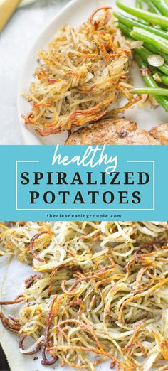 Healthy Spiralized Potatoes are an easy, healthy side dish that go with any meal! Baked until perfectly crispy, whole30, vegan, paleo friendly and so delicious! This is one of my favorite recipes- learn how to make the best crispy potatoes! #paleo #healthy #whole30