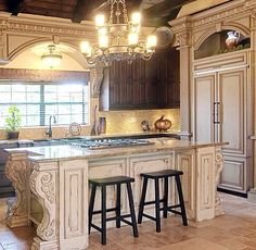 Old World Kitchen. I HATE those barstools though... who thought that was a good idea!??