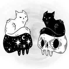 _ Artwork by _ Sketches, Skull Art, Art Drawings, Cat Art, Cute Art, Art, Art Sketches, Cute Drawings, Creepy Art