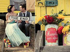 Joli mariage rouge et jaune