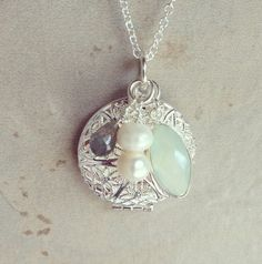 Diffuser necklace - Pale minty blue chalcedony with labradorite and freshwater pearls on silver plated chain and locket