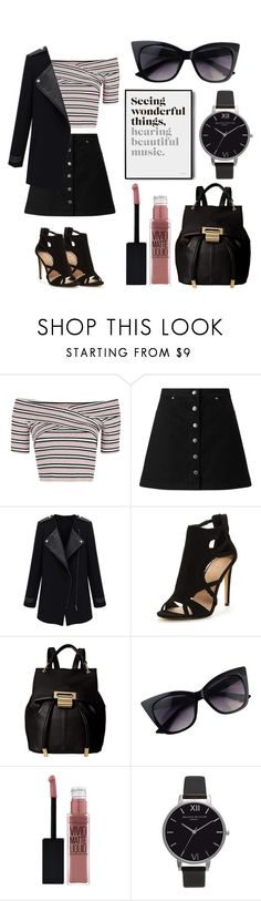 """Studying in New York City"" by kenziebarakat ❤ liked on Polyvore featuring Topshop, Miss Selfridge, Ivanka Trump, Maybelline, Olivia Burton and Brika"