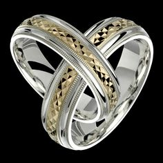 Silver and Gold Two-Tone Sterling Silver & Yellow Solid Gold Wedding Band Fashion Ring Unisex Engagement Ring For Him, His And Her Wedding Rings, Gold Rings Jewelry, Jewelry Bracelets, Gold Bangles Design, Necklace Designs, White Gold Rings, Gold Bands, Fashion Rings