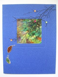 Using up old blank card stock!  Small aperture card, Used section of brusho background then stamped over using Tree Branch stamp from Inkylicious. Couple of tiny embellishments to add a bit of extra 'sparkle'