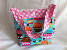 Small Lunch Tote in Cupcakes by lizzysueandher2 on Etsy, $28.99