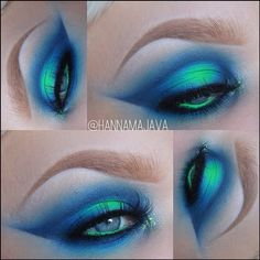 Electric blue and neon green eye make up by: Hanna