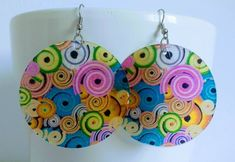 Items similar to Multi coloured earrings, Dangle Earrings, Disc Earrings, Hippie Earrings, Boho Earrings on Etsy Mother Of Pearl Earrings, Bright Colours, Boho Earrings, Washer Necklace, Dangles, Pattern, Pink, Gifts, Etsy