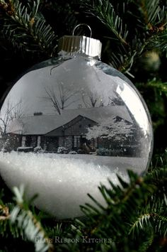 Blue Ribbon Kitchen: 'Home for the Holidays' Christmas Ornament |Snowy DIY ornament with your house inside.  Keepsake.