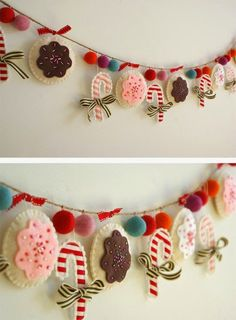 FELT & FLEECE FUN (GARLANDS/BUNTING) - Create this DIY Christmas garland. This Christmas sewing craft will be a wonderful handmade Christmas decoration. No directions but pretty straight forward for someone creative to replicate. Diy Christmas Garland, Handmade Christmas Decorations, Felt Christmas Ornaments, Holiday Decorating, Decorating Ideas, Diy Ornaments, Christmas Projects, Felt Crafts, Holiday Crafts