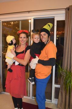 Goofy, Minnie, and kids Disney costumes