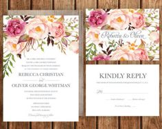 Bohemian Wedding Invitation Fall Wedding Invite by BettyLuPaperie