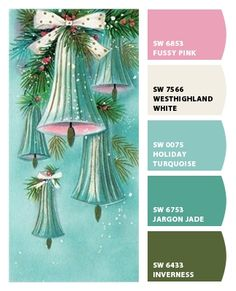 Paint colors from Chip It! by Sherwin-Williams Xmas Colors, Christmas Colors, Retro Christmas, Christmas Ideas, Christmas Palette, Christmas Colour Schemes, Color Trends, Color Combos, Color Schemes