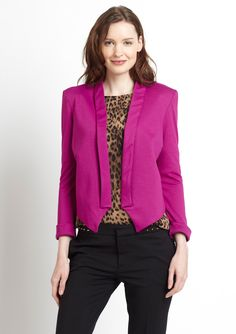 CASUAL COUTURE  Solid Crop Blazer, Berry