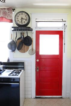 i like the idea of a bright back door! A focal point and happiness as the last thing seen in the home!