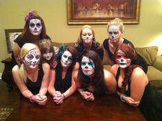 Sugar Skull Makeup Group of pretty sugar skull face paintings , sugar skull makeup in all different colors , by Rachel's face painting in KY