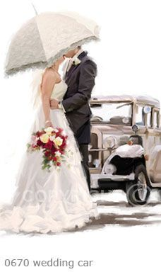 Trademark Fine Art 'Wedding Car' Canvas Art by The Macneil Studio, Size: 16 x White Wedding Art, Wedding Images, Wedding Pictures, Wedding Kiss, Lace Parasol, Wedding Illustration, Romance And Love, Love Painting, Just Married