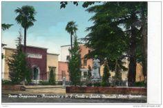 Foto colorata a mano. Piazza Fratelli Banditori con il monumento a Padre Filippo Cecchi e la Sala della Musica - 1954.