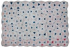 """Geometric Kantha  Asan Kantha (seat) STYLE: Geometric CIRCA: 1950s FROM: West Bengal SIZE: Approx. 19"""" x 26"""" (48.25 cm x 66 cm)  NOTE: Although small, this asan still tells a story. The scalloped edge is an unusual feature; this edge design is intentional, where on some it is a result of washing and thread shrinkage. The piece is thick with about six layers of soft cotton from an old sari or dhoti (a man's garment.) The thread was probably unraveled from the border of old saris; the color is…"""
