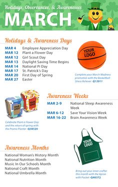 March is around the corner, and that means spring is, too. Check out our latest calendar to see all the holidays, observance, and awareness dates coming up! Silly Holidays, March Holidays, National Days, National Holidays, Holiday List, Holiday Fun, National Holiday Calendar, Monthly Celebration, Senior Citizen Activities