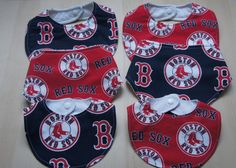 Calling all Boston Red Sox baseball fans! Your newest team mate will be ready to cheer the Red Sox to the World Series with these stylish bibs. This delightful and functional fashion accessory has been carefully handmade with love and would make the perfect shower gift for any baby or expecting dad!  The sports theme print on the the bibs face is 100% cotton fabric. It is securely held in place around babys neck with genuine KAM snaps and is top-stitched for durability.  The stylish bandana…