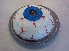 Decorate an Eyeball Cake: An eyeball cake is super-easy to make and is a great cake for a Halloween party or mad scientist birthday party.