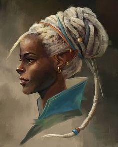 "— Hilary Purnamasari – ""Elf Warrior"" – About Hair Black Girl Art, Black Women Art, Black Art, Art Girl, Fantasy Character Design, Character Design Inspiration, Character Art, Elf Warrior, Warrior Queen"