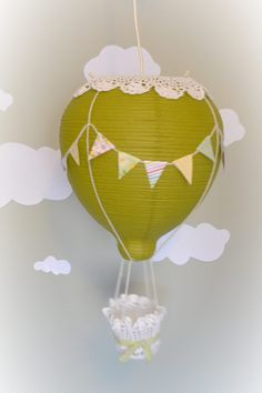 Hot Air Balloon Light - Pendant Light Lampshade Mobile - Baby Nursery / Play Room Decor. $70.00, via Etsy.