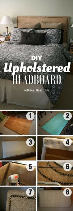 Check out how to build this easy DIY Upholstered Headboard with Nail Head Trim @istandarddesign #cheaphomedecor