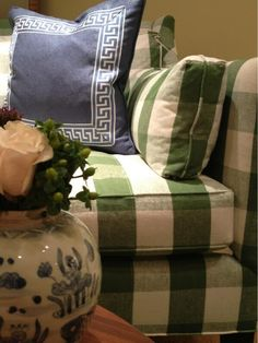 Blue/white Greek key throw pillow (with that green/white sofa fabric!) Julie Browning Bova