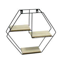 Prateleira de Metal e Madeira Geo Forms Hexagon x x Urban - Viva Decora Iron Furniture, Garden Furniture, Door Gate Design, Drinks Logo, Metal Wall Decor, Decor Crafts, Home Decor, Metal Walls, Wardrobe Rack