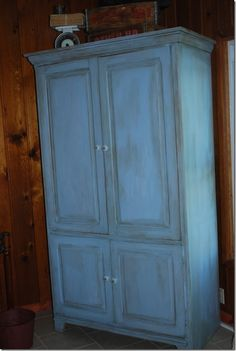 Armoire change- painted and then distressed with wax.