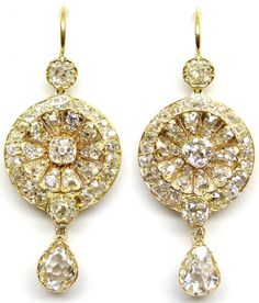 """19th century """"Anglo-Indian"""" diamond earrings. Via Diamonds in the Library."""