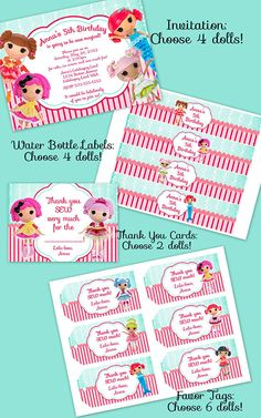 Lalaloopsy Party Supplies - Invitation, Thank You Cards, Water Bottle Labels and Favor Tags with your choice of Lalaloopsy Dolls  Birthday Party Printables by LalaHeaven, $15.00