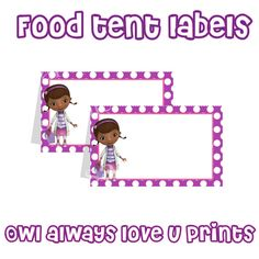 DOC MCSTUFFINS Printable Food Tents- Place Cards-  Birthday