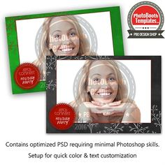 This elegant and clean Photo Booth template is comprised of a chalkboard background, holly chalk drawings and a cute round label to personalize. Each element can be easily colorized. Perfect for a holiday wedding, holiday party, winter events and so much more!