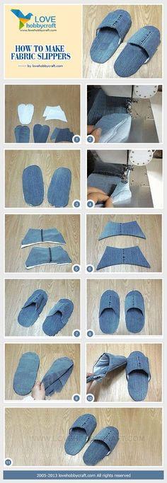 Como realizar un par de pantuflas reutilizando los jeans viejos..