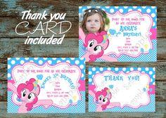 My Little Pony Invitation, My Little Pony Pinkie Pie Invitation, Pinkie Pie Invitation, My little Pony Pinkie Pie Thank you card