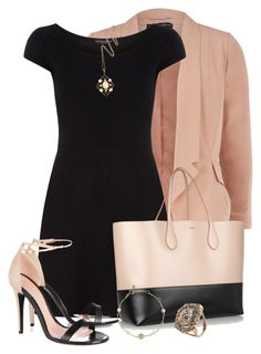 """""""Blush + Black"""" by pantherstyle ❤ liked on Polyvore featuring Dorothy Perkins, Rochas, Links of London, Federica Rettore, Alexander McQueen, blush drape collar jacket, alexander mcqueen leather suede sandals, federica rettore flat diamond slice ring, black petal sleeve dress and kojis vintage gold moonstone liberty necklace"""