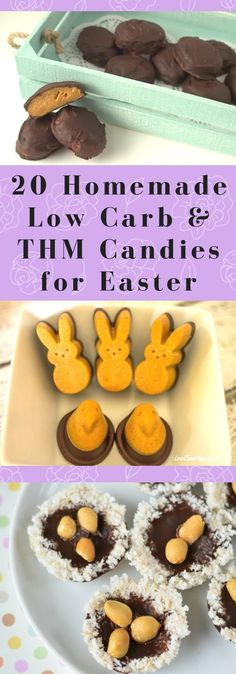 20 Homemade Low Carb & Trim Healthy Mama friendly Candies for Easter. Sugar-Free, Grain Free, Gluten Free, and perfect for your Easter basket. via /joyfilledeats/