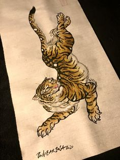 Snake Drawing, Tiger Drawing, Tiger Art, Traditional Heart Tattoos, Traditional Tiger Tattoo, Japanese Tiger Tattoo, Japanese Tattoo Designs, Japanese Drawings, Japanese Art
