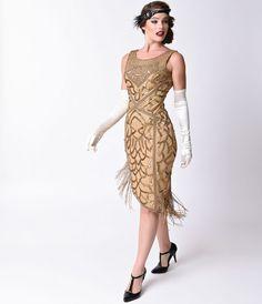Unique Vintage 1920s Style Antique Gold Sequin Gilda Flapper