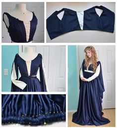 This pleated navy Renaissance dress used 12 yards of fabric! | This 18-Year-Old Girl Is Sewing Gowns Worthy Of Royalty