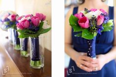 Like the blue & pink in bouquet, and could tastefully do this with silk flowers