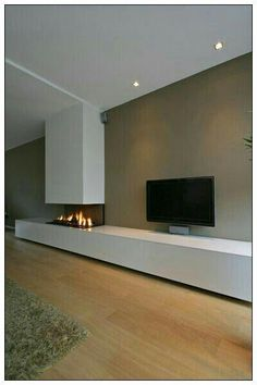 Minimalist Living Room Design Ideas With The Fireplace Home Fireplace, Modern Fireplace, Living Room With Fireplace, Fireplace Design, Living Room Tv, Living Room Interior, Home And Living, Minimalist Living, Minimalist Lifestyle