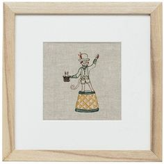 """Framed Circus Monkey  The charming circus monkey magician pulls a rabbit out of a hat with a flourish of his paw. Embroidery on linen, natural wood frame, glass front, 11.5 x 11.5"""" #coralandtusk"""