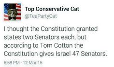 "The Knesset is in session in D.C. and the KNIGHTS ERRANT OF THE PARTY OF WAR REIGN :-$ :'(       Nyetanyayhoo's commandos (exempt from actual combat):      1/ Here is the List of the   ""IRANIAN 47""  Here is the full list of who signed:  Senator Tom Cotton, R-AR  Senator Orrin Hatch, R-UT  Senator Charles Grassley, R-IA  Senator Mitch McConnell, R-KY  Senator Richard Shelby, R-AL  Senator John McCain, R-AZ  Senator James Inhofe, R-OK  Senator Pat Roberts, R-KS  Senator Jeff Sessions, R-AL…"