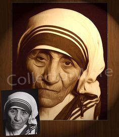 MOTHER THERESA drawing 2 CANVAS PAINTING. All original paintings direct from the artist, available as oil or acrylic, feel free to choose the artistic technique of your preference. To purchase this, or for painting orders, please contact us at info@collectorware.com, or visit http://www.collectorware.com/canvas-1famous_characters.htm