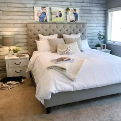 Grey and white Master Bedroom shiplap wall. Grey and white Master Bedroom shiplap wall. Grey and white Master Bedroom shiplap wall. Grey and white Bedroom Window Design, Accent Wall Bedroom, Diy Home Decor Bedroom, Bedroom Layouts, Bedroom Ideas, Accent Walls, Bedroom Inspiration, White Shiplap Wall, White Walls