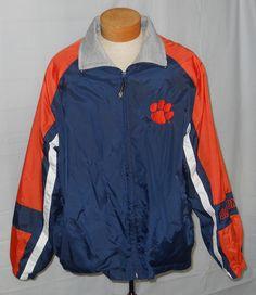VTG Starter Clemson Jacket XL Mens Nylon Navy Blue Orange Full Zip Lightweight #Starter #Windbreaker